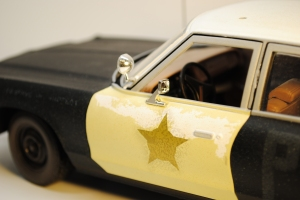"Searchlight & rear view mirror, 1974 Dodge Monaco Sedan ""Bluesmobile"""